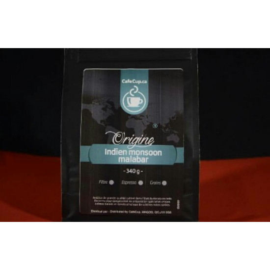 Café Indien Monsoon Malabar Origine | Café en vrac, format 340g | Intensité 8.0
