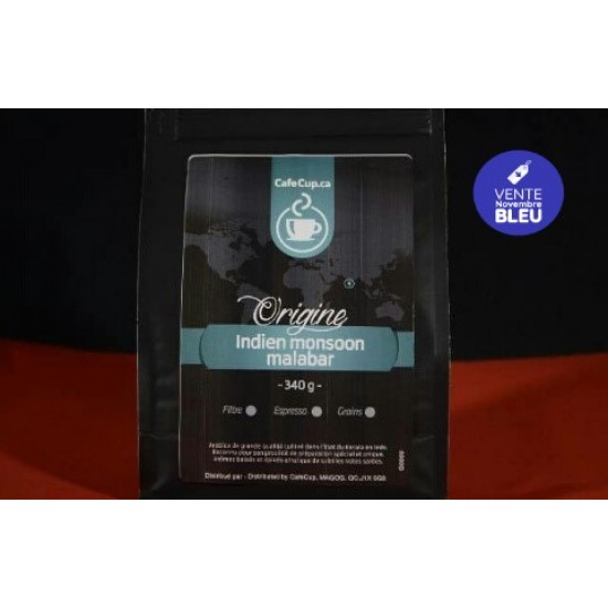 Café Indien Monsoon Malabar Origine | Café en vrac, format 340g | Intensité 8.0