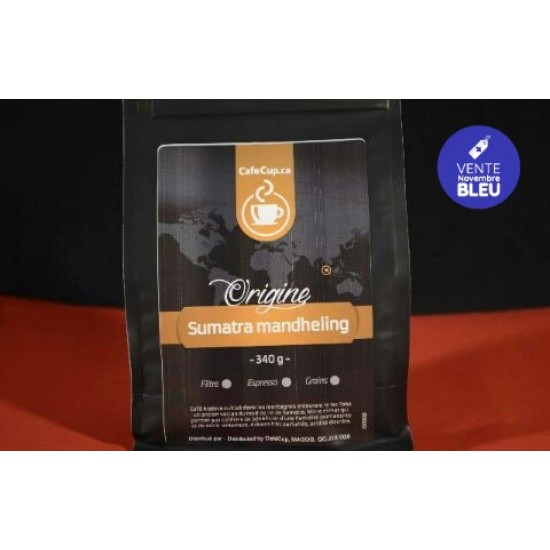 Café Indonésie Sumatra Mandheling Origine 100%   vrac, format 340g   Intensité 8.0